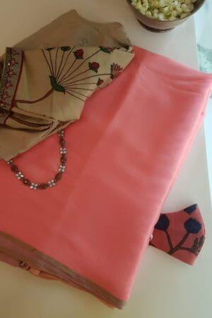 peach melba chiffon saree