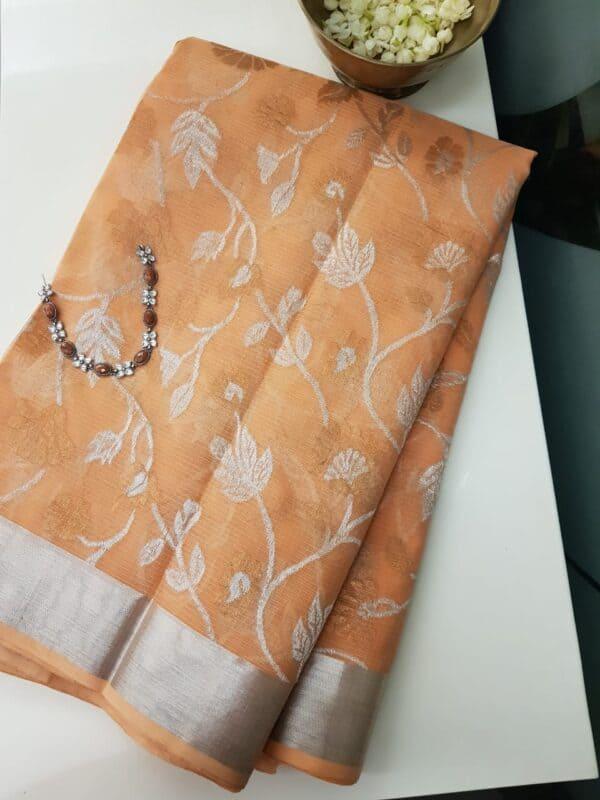 peach with floral silver zari