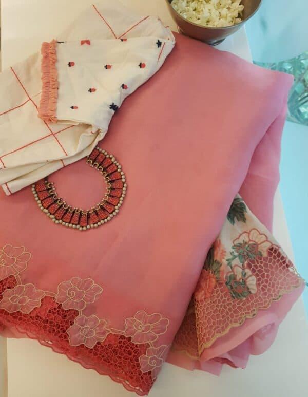 pink organza saree with cutwork and tussar pallu