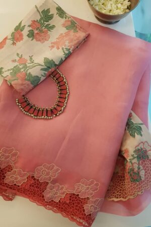 pink organza saree with cutwork and tussar pallu1