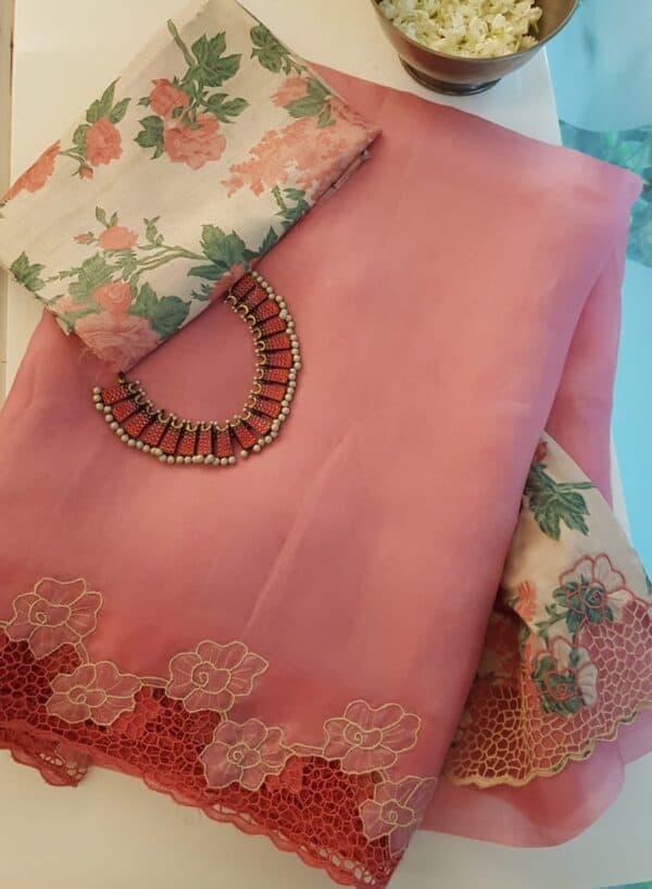 pink organza saree with cutwork and tussar pallu1