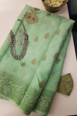 pista green zari kota saree