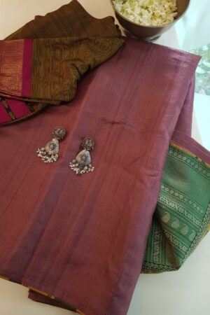 maroon tussar saree with green silk pallu1