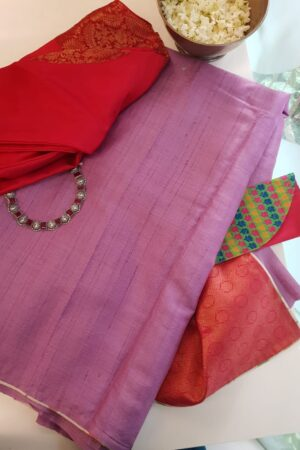 purple with pink silk pallu