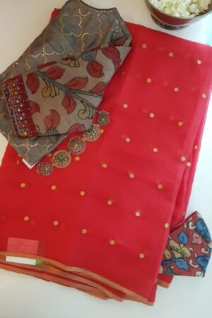 red chiffon saree with zari dots