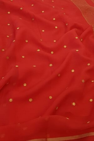 red chiffon saree with zari dots1
