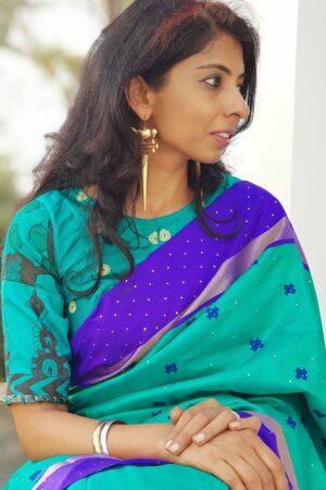 teal green silk kalamkari blouse
