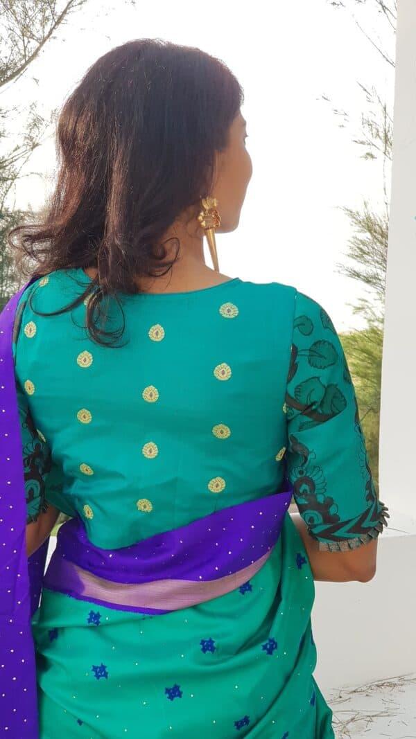 teal green silk kalamkari blouse1