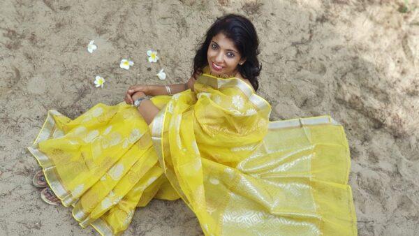 yellow kota saree with silver zari