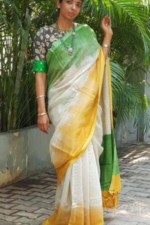 3 color shaded saree