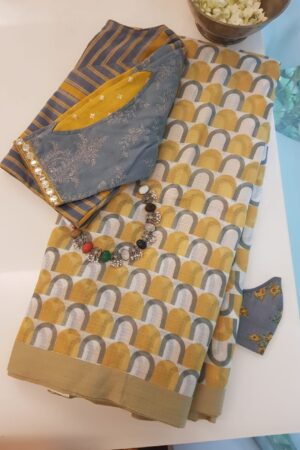 Mustard kota saree with grey prints