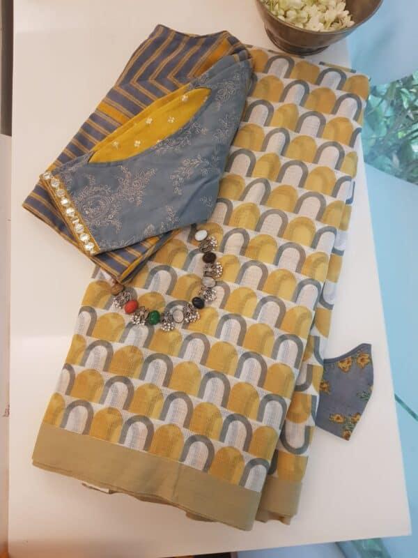 Mustard kota saree with grey prints
