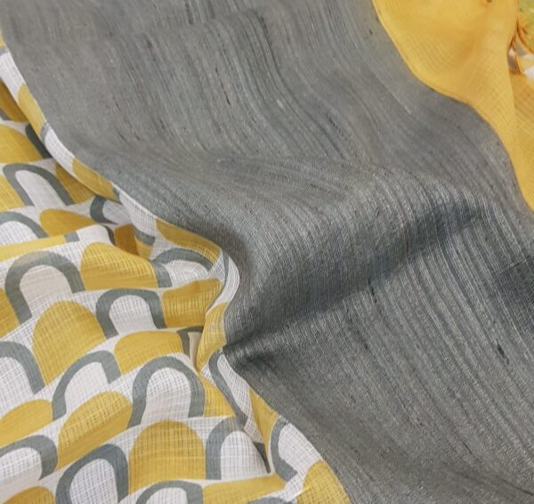Mustard kota saree with grey prints1