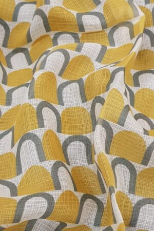 Mustard kota saree with grey prints2