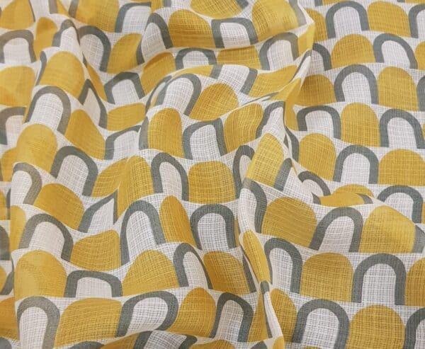 Mustard kota saree with grey prints2