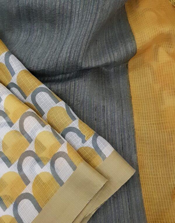 Mustard kota saree with grey prints3