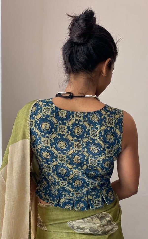 ajrakh indigo blouse