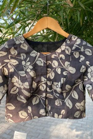 black and beige kalamkari blouse