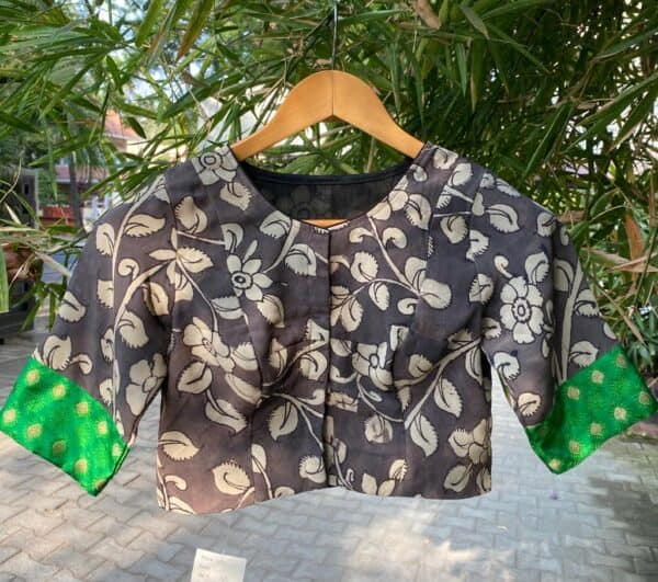 black and beige kalamkari blouse