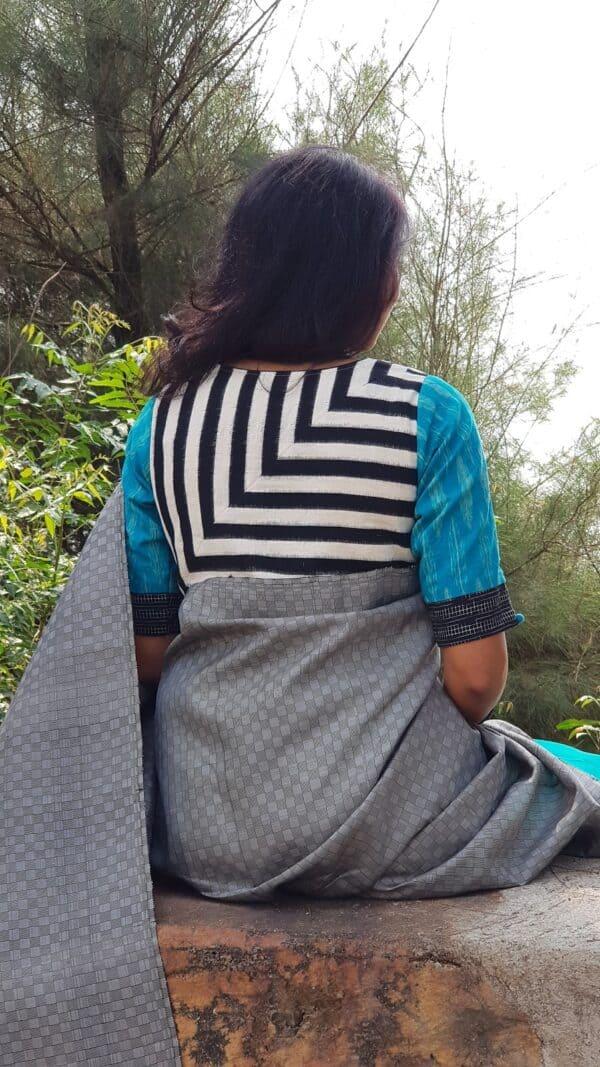 black and white ikat blouse