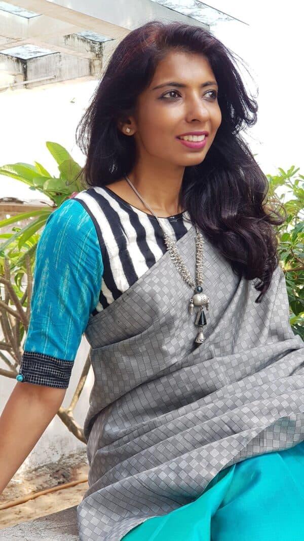 black and white ikat blouse1