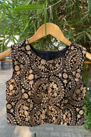 black velvet blouse with embroider