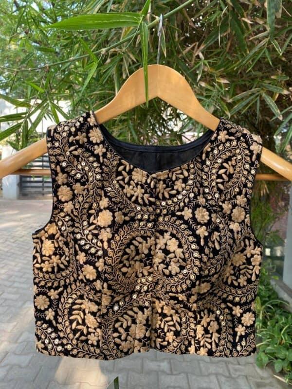 black velvet blouse with embroider