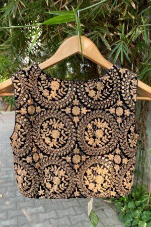 black velvet blouse with embroider1