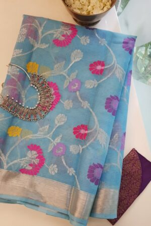 blue with bright meena work