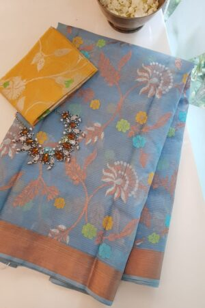 blue with meena work