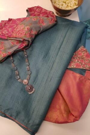 blue with peach silk pallu