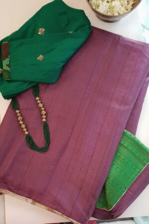 burgundy with green pallu