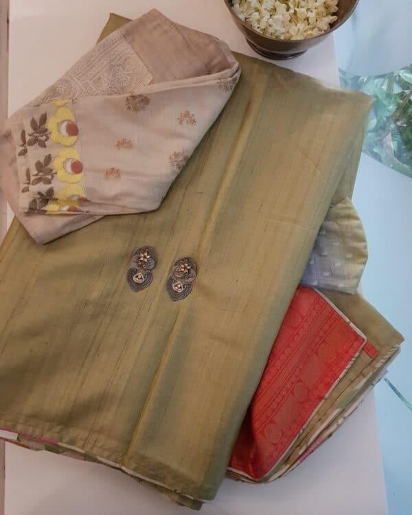 elaichi green with silk pallu