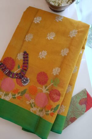 golden yellow with silver zari and meena border