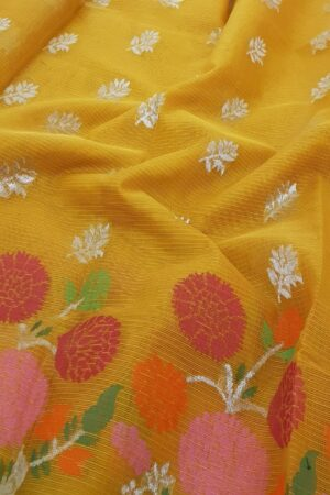 golden yellow with silver zari and meena border1
