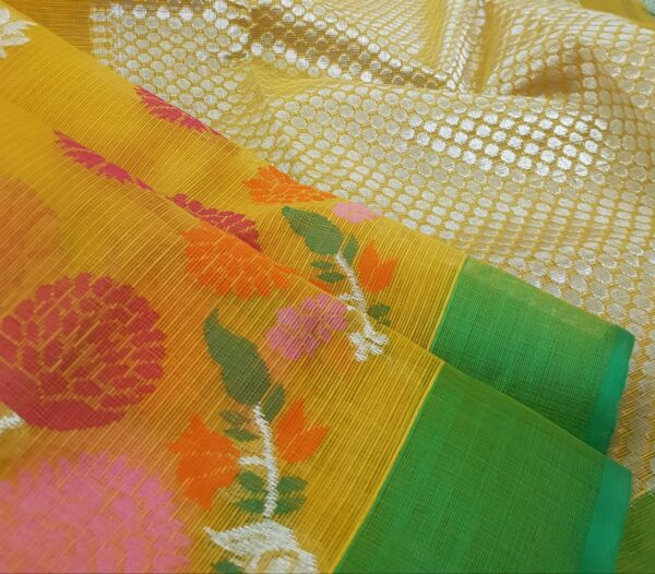 golden yellow with silver zari and meena border2