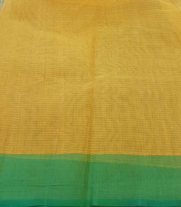 golden yellow with silver zari and meena border3