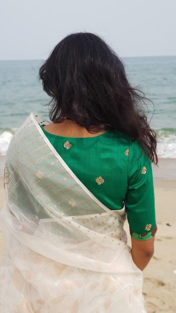 green silk blouse