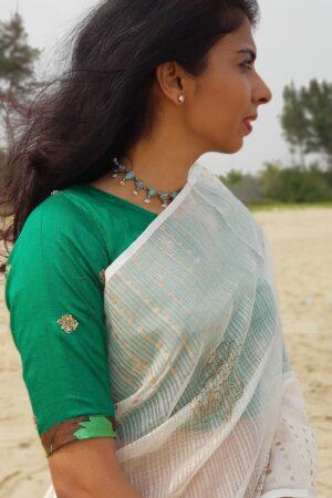 green silk blouse1