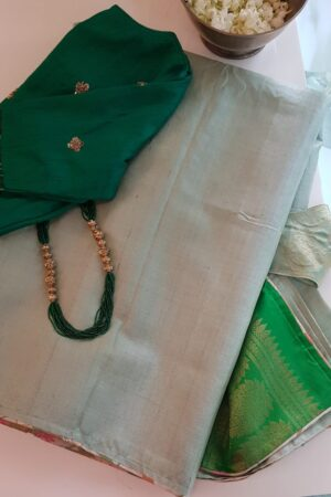 green with green silk pallu