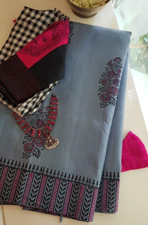 grey bp kanchipuram silk saree