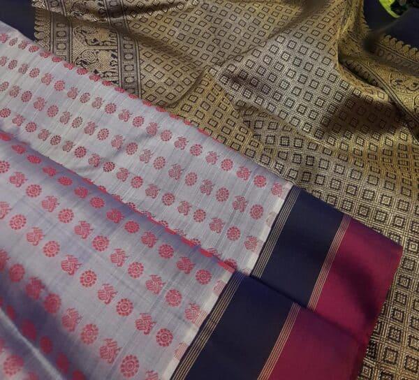 grey kanchipuram silk with 2 colour border1