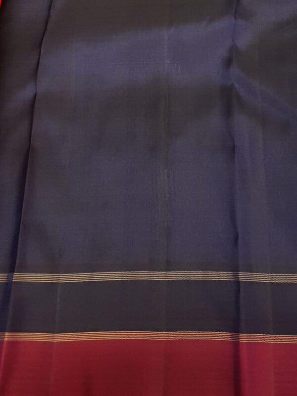 grey kanchipuram silk with 2 colour border3