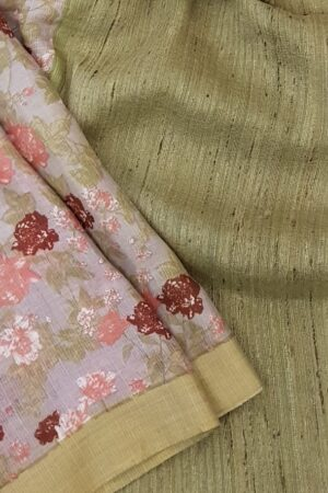 grey kota with tussar border and floral prints3