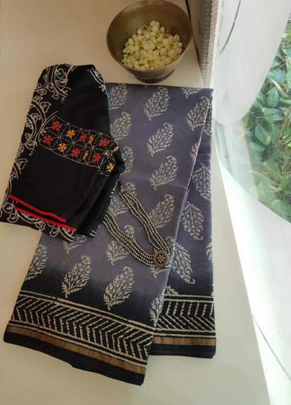 grey shaded block printed chanderi saree