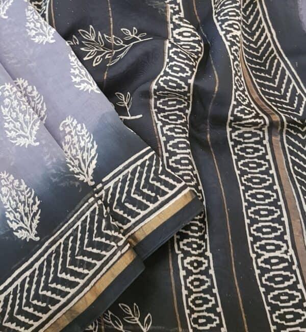 grey shaded block printed chanderi saree1