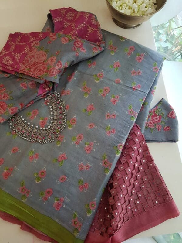 grey with pink pallu cutwork