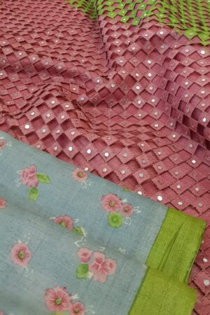 grey with pink pallu cutwork4