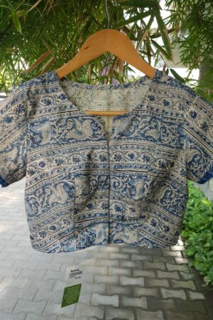 indigo kalamkari block printed blouse