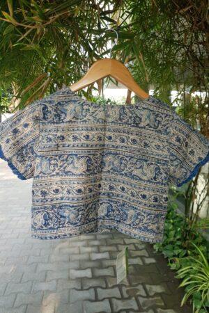 indigo kalamkari block printed blouse1